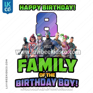Fortnite Heat Transfer Design | Add Family Members - Happy Birthday