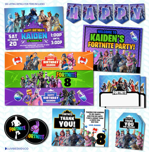 Fortnite Birthday - Printable Birthday Party Pack - LuvibeeKidsCo