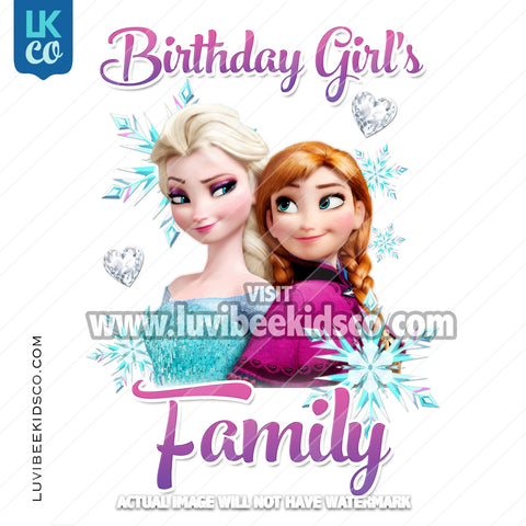 Frozen Iron On Transfer | Elsa & Anna - Birthday Girl's Family Member - LuvibeeKidsCo