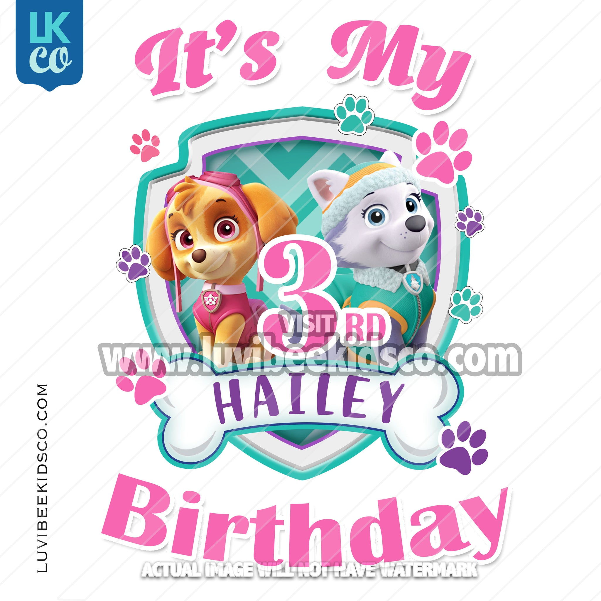 Digital File [12-24hr email] - Paw Patrol, Skye, Everest - It's My Birthday - Any Name and Age - LuvibeeKidsCo