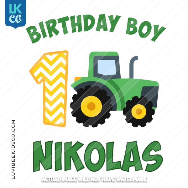 John Deere Tractor Heat Transfer Design - Birthday Boy - LuvibeeKidsCo