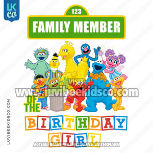 Sesame Street Birthday Iron On Transfer - Add A Family Member - Birthday Girl