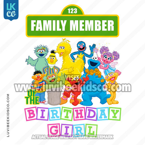 Sesame Street Birthday Iron On Transfer - Add A Family Member - Birthday Girl 02