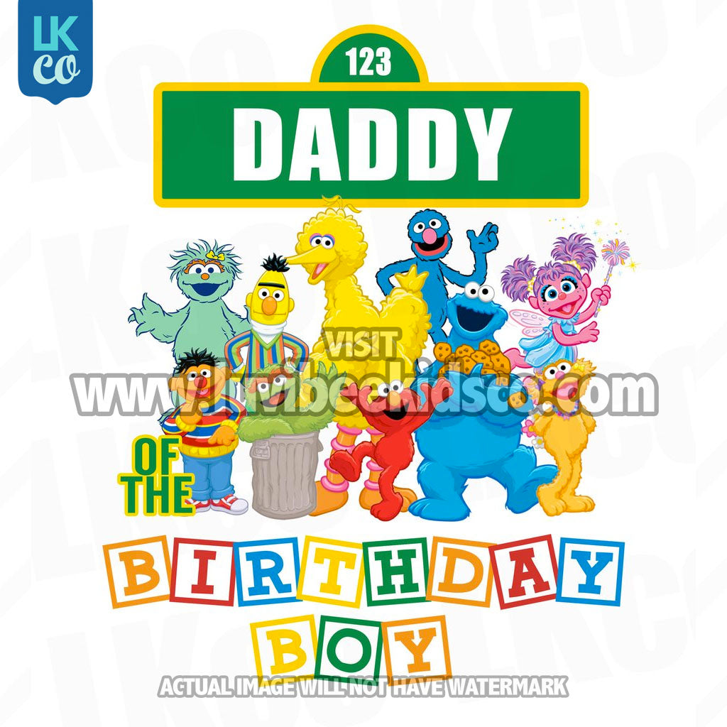 Sesame Street Birthday Iron On Transfer - Primary Colors - Daddy of Birthday Boy - LuvibeeKidsCo
