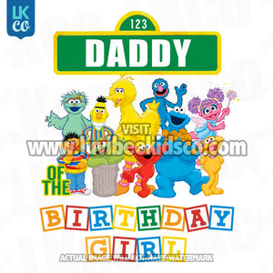 Sesame Street Birthday Iron On Transfer - Primary Colors - Daddy of Birthday Girl