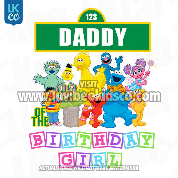 Sesame Street Birthday Iron On Transfer - Primary Colors - Daddy of Birthday Girl 02 - LuvibeeKidsCo
