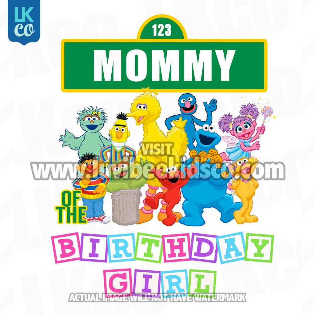 Sesame Street Birthday Iron On Transfer - Primary Colors - Mommy of Birthday Girl 02 - LuvibeeKidsCo