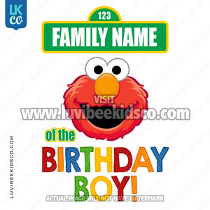 Sesame Street Iron On Birthday Shirt Design | Elmo - Add A Family Member - Birthday Boy