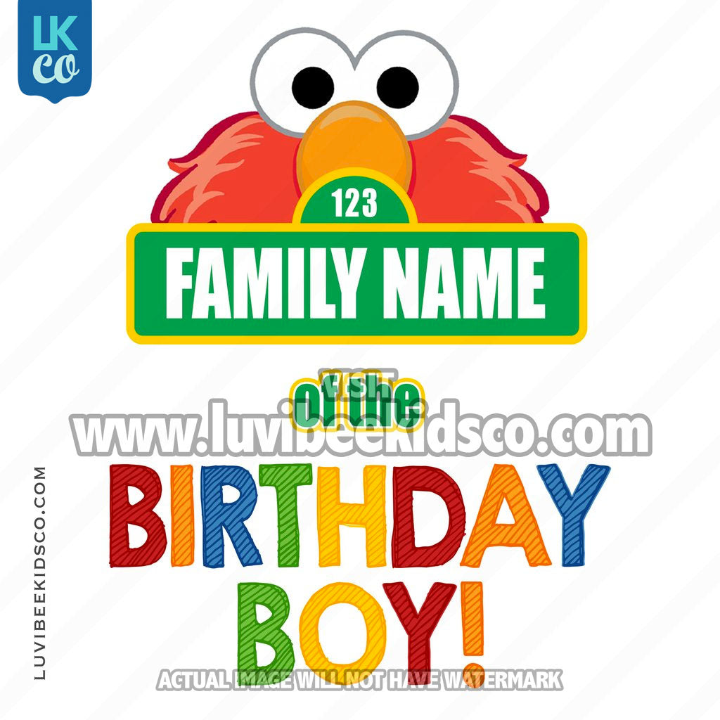 Sesame Street Iron On Birthday Shirt Design | Elmo - Add A Family Member - Birthday Boy 02