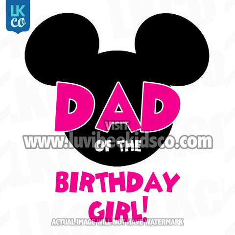 Minnie Mouse Iron On Transfer | Dad of the Birthday Girl | Pink & Black Dots - LuvibeeKidsCo