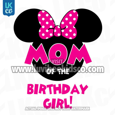 Minnie Mouse Iron On Transfer | Mom of the Birthday Girl | Pink & Black Dots - LuvibeeKidsCo