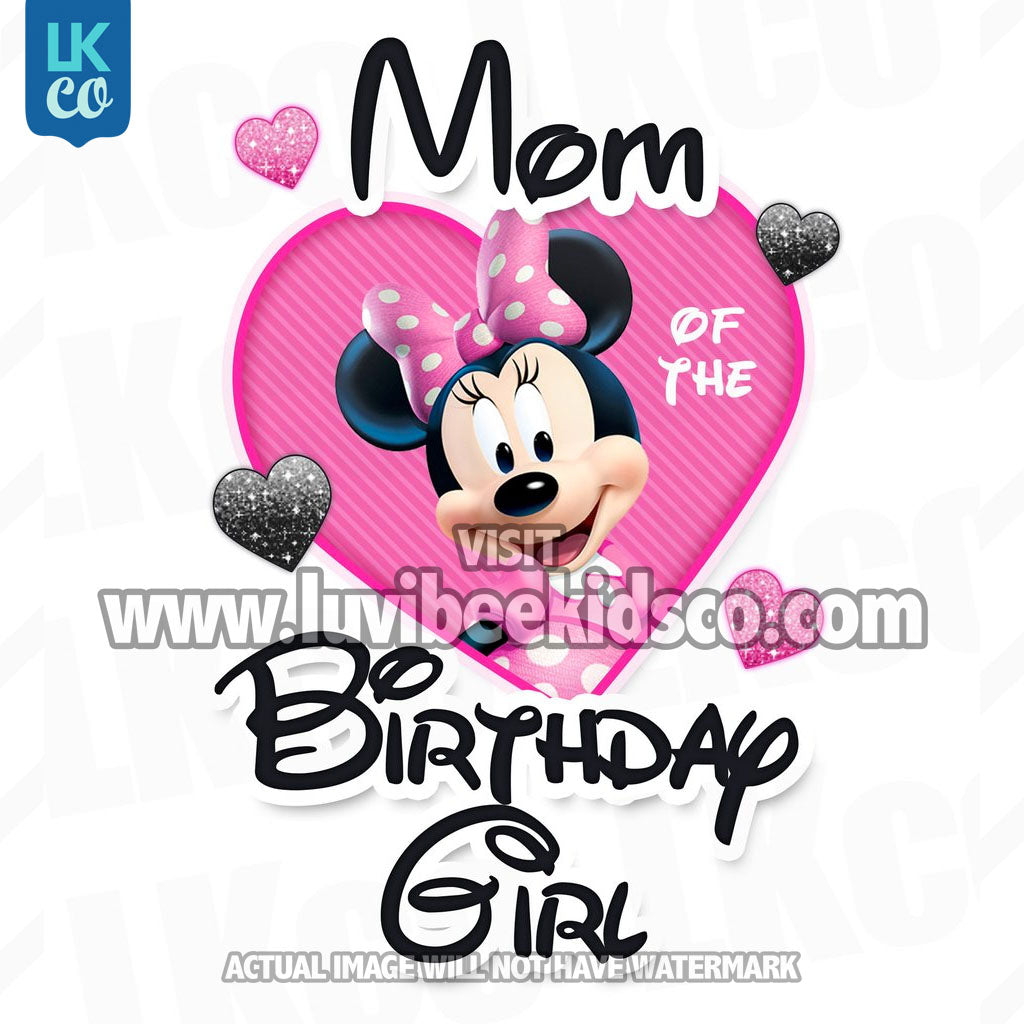 f34fd7b95 ... Minnie Mouse Iron On Transfer | Mom or Dad of the Birthday Girl | Pink  ...