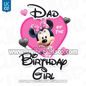 Minnie Mouse Iron On Transfer | Mom or Dad of the Birthday Girl | Pink & Black - LuvibeeKidsCo