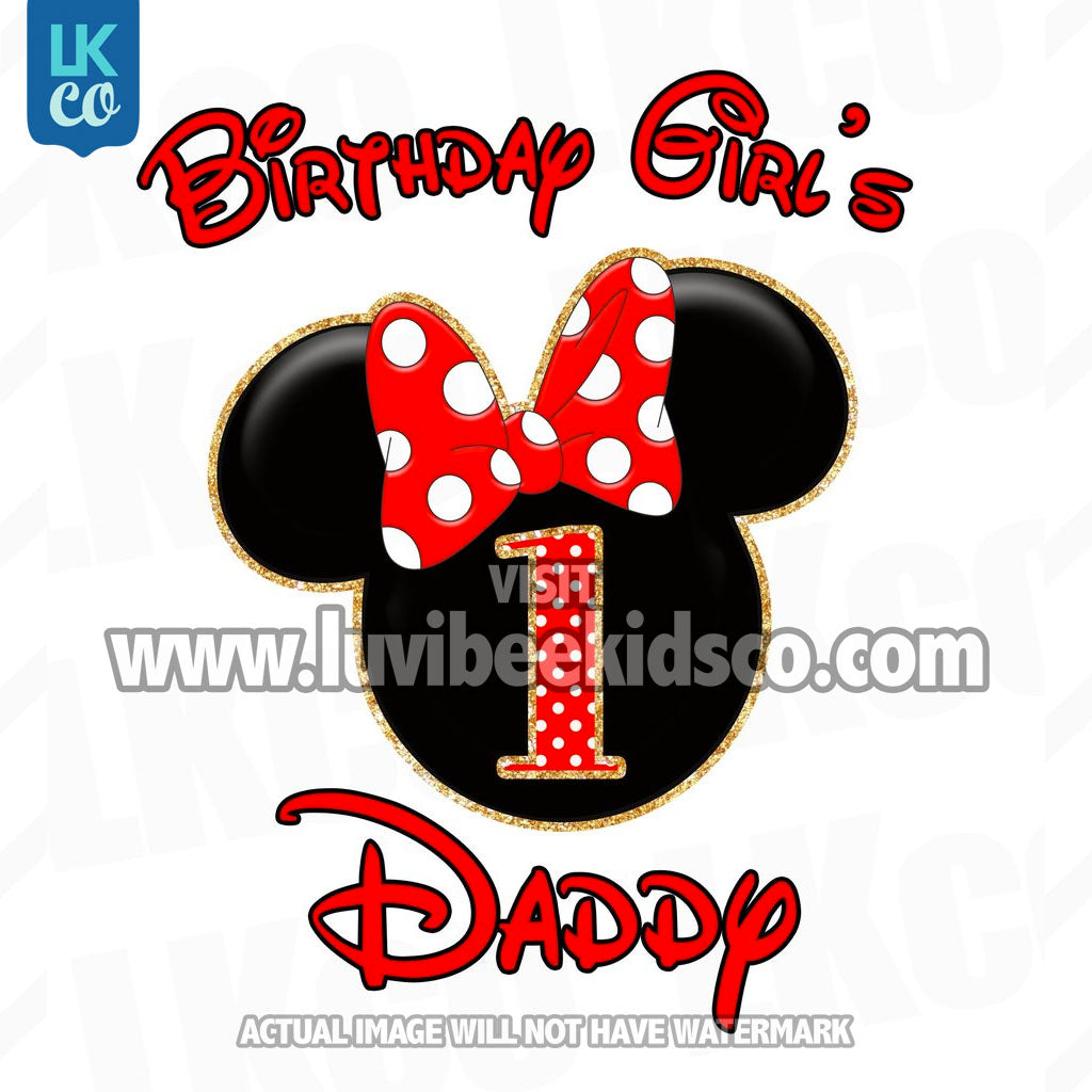 Minnie Mouse Iron On Transfer | Red & Black | Daddy of the Birthday Girl - LuvibeeKidsCo