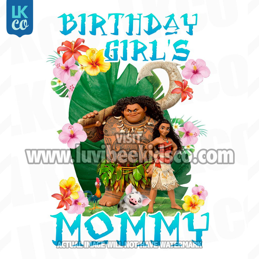 Moana Iron On Transfer | Mommy of the Birthday Girl | Blue - LuvibeeKidsCo
