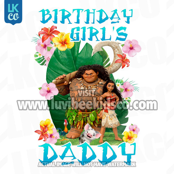 Moana Iron On Transfer | Daddy of the Birthday Girl | Blue - LuvibeeKidsCo