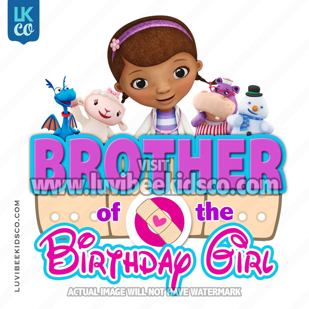 Doc McStuffins Iron On Transfer | Bandaid - Brother of the Birthday Girl - LuvibeeKidsCo
