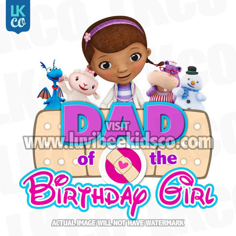 Doc McStuffins Iron On Transfer | Bandaid - Dad of the Birthday Girl - LuvibeeKidsCo