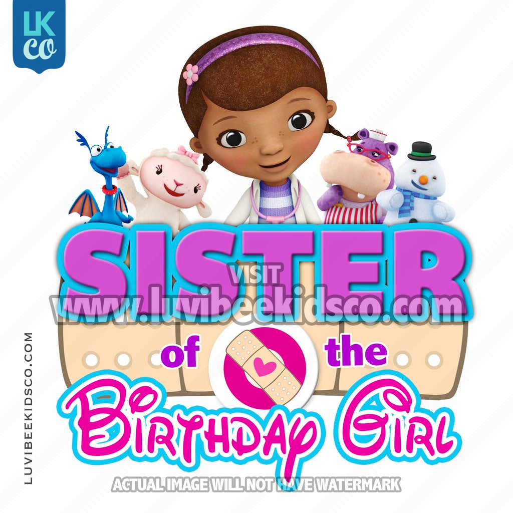 Doc McStuffins Iron On Transfer | Bandaid - Sister of the Birthday Girl - LuvibeeKidsCo
