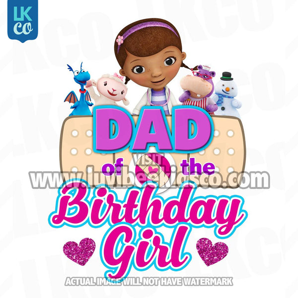 Doc McStuffins Iron On Transfer | Hearts - Dad of the Birthday Girl - LuvibeeKidsCo