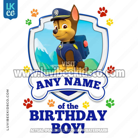 Paw Patrol - Blue Chase Family Member of the Birthday Boy - LuvibeeKidsCo