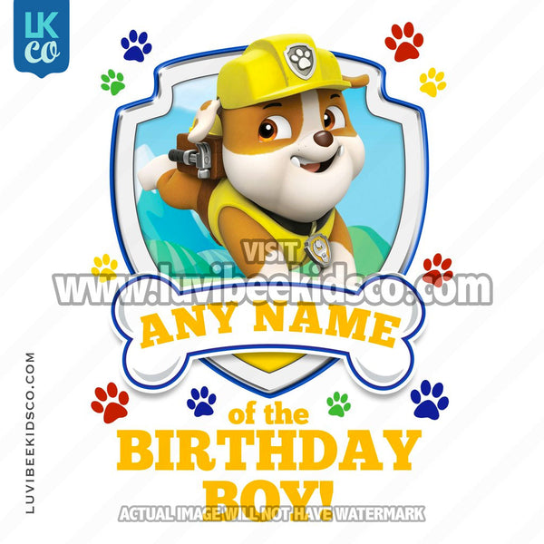 Paw Patrol - Yellow Rubble Family Member of the Birthday Boy - LuvibeeKidsCo
