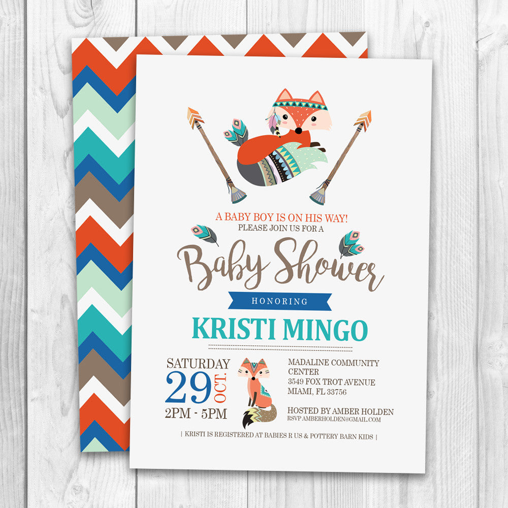 Tribal Baby Shower Invitation | Little Fox Tribal Baby Shower - LuvibeeKidsCo