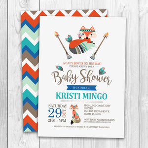 Tribal Baby Shower Invitation | Little Fox Tribal Baby Shower