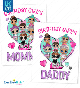 LOL Surprise Iron On Transfer Set - Mommy & Daddy - Purple - LuvibeeKidsCo