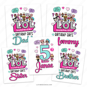 LOL Surprise Iron On Transfer Designs - Family Pack - LuvibeeKidsCo