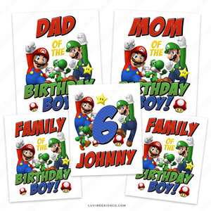 Super Mario Bros Iron On Transfers Family Pack | Birthday Boy