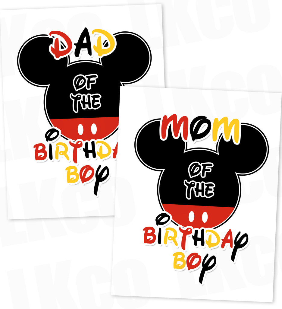 Mickey Mouse Iron On Transfers Set | Mom & Dad of the Birthday Boy | Mickey Ears