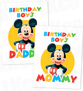 Mickey Mouse Iron On Transfers Set | Birthday Boy's Mommy & Daddy - LuvibeeKidsCo
