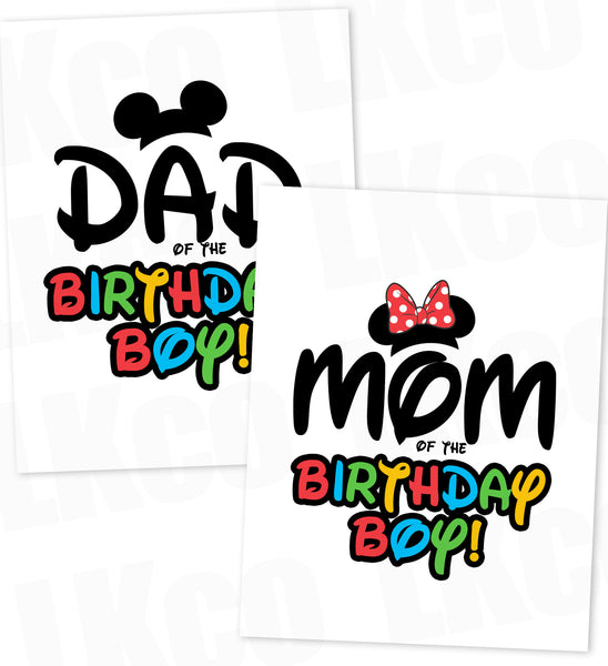 Mickey Mouse Iron On Transfers Set | Mom & Dad of the Birthday Boy | Disney - LuvibeeKidsCo