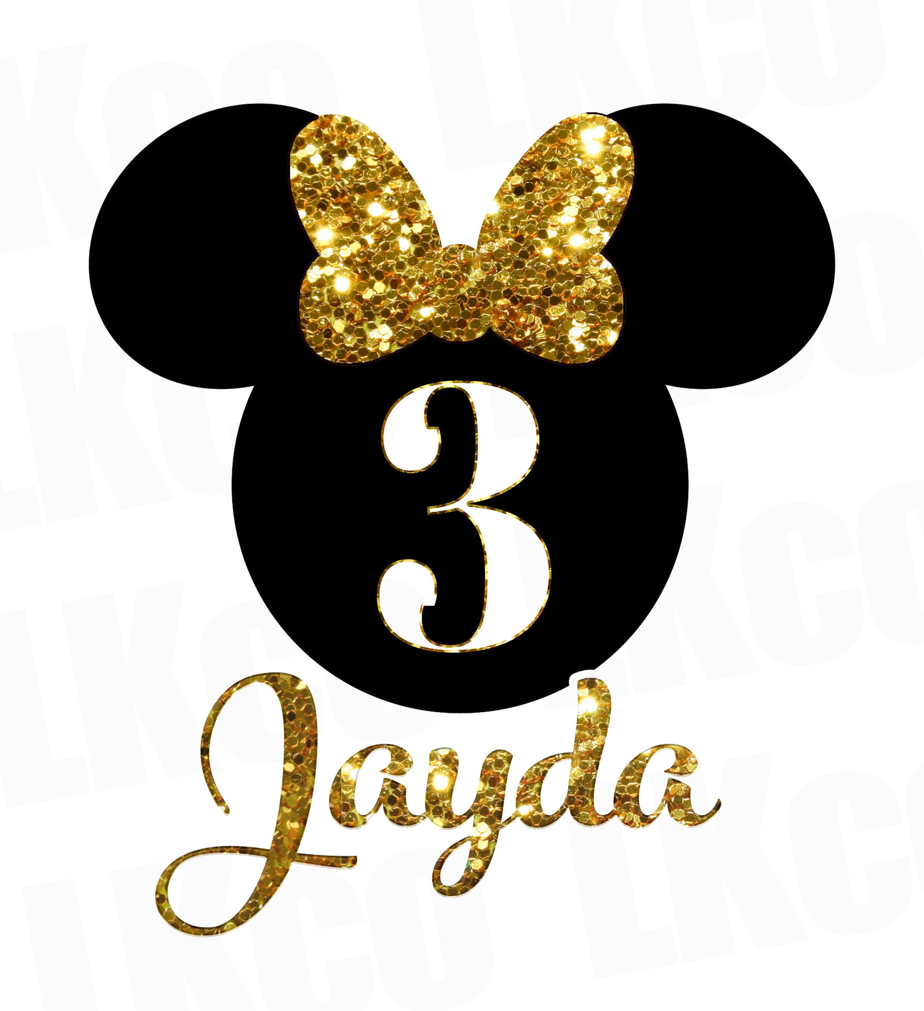 Minnie Mouse Iron On Transfer | Faux Gold Glitter - LuvibeeKidsCo