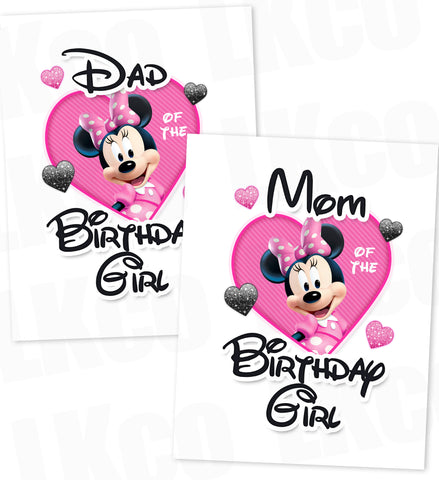 Minnie Mouse Iron On Transfers | Mom & Dad of the Birthday Girl Set | Pink & Black - LuvibeeKidsCo