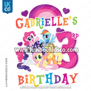 My Little Pony Birthday Shirt Transfer | Rainbow Birthday - LuvibeeKidsCo