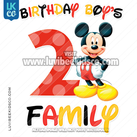 Mickey Mouse Iron On Transfer | Black, Yellow, Red - Add Family Members
