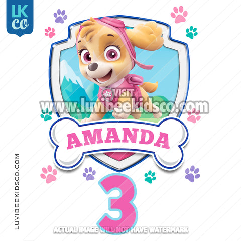 Paw Patrol - Skye - Pink Name with Age