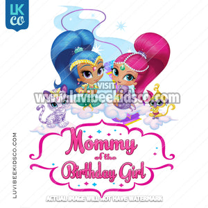 Shimmer and Shine Heat Transfer Design | Mommy of the Birthday Girl