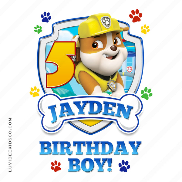 Paw Patrol - Yellow - Birthday Boy Rubble with Age - LuvibeeKidsCo