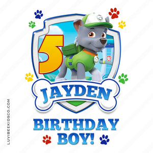 Paw Patrol - Green - Birthday Boy Rocky with Age - LuvibeeKidsCo