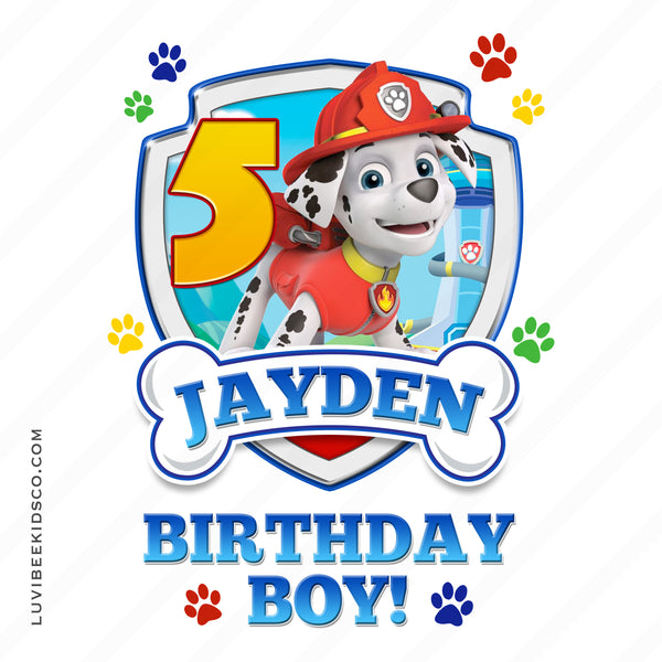 Paw Patrol - Red - Birthday Boy Marshall with Age - LuvibeeKidsCo