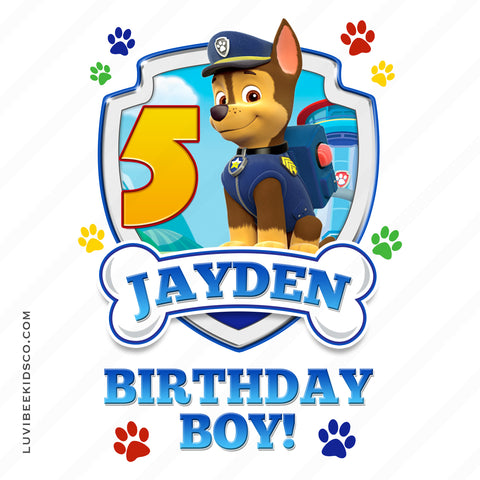 Paw Patrol - Blue - Birthday Boy Chase with Age - LuvibeeKidsCo