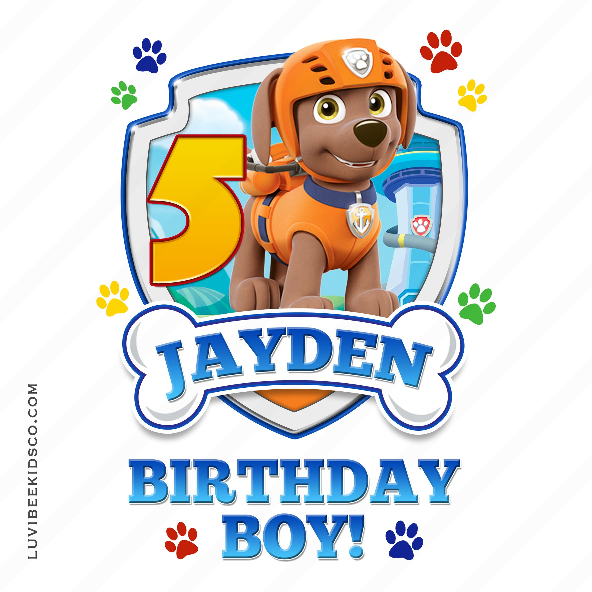 Paw Patrol - Orange - Birthday Boy Zuma with Age - LuvibeeKidsCo