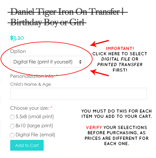 Daniel Tiger Iron On Transfer for Birthday Boy | Add Any Family Member