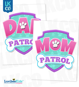 Paw Patrol Iron On Transfer - Patrol Pink | Dad & Mom Patrol Set