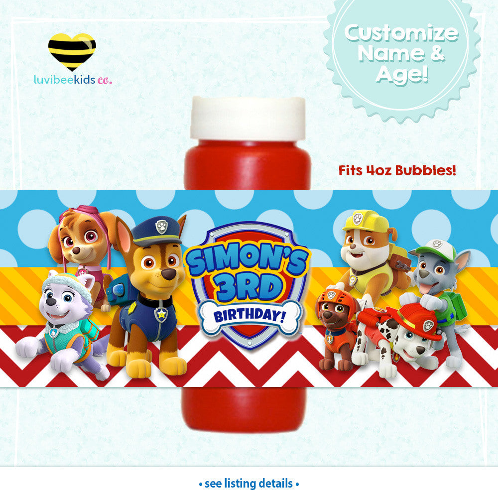 Paw Patrol Bubble Labels - Paw Patrol Party Favors - Style for Boys or Girls - LuvibeeKidsCo