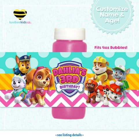 Paw Patrol Bubble Labels - Paw Patrol Party Favors - Style for Girls - LuvibeeKidsCo