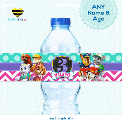 Paw Patrol Bottle Labels | Drink Wrappers Printable - Girls